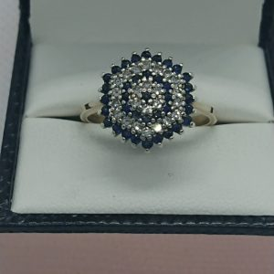 Vintage 9ct Gold Diamond and Sapphire Cluster Ring Cluster Ring Antique Jewellery