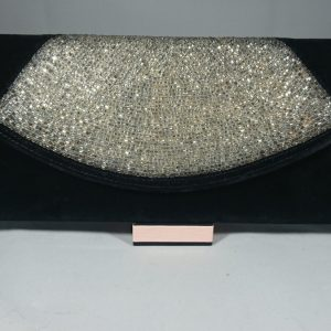Vintage Art Deco Style Black Velvet and Silver Glass Bead Clutch Purse beaded handbag Antique Textiles