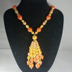 Fun Vintage 1950's Orange Faux Pearl Bead Necklace orange bead necklace Antique Jewellery