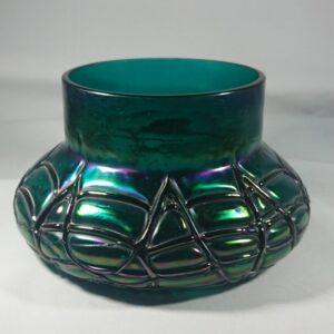Antique Iridescent Green Glass Vase by Kralik Bohemian glass Antique Glassware