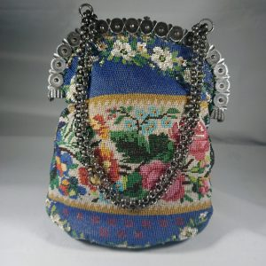 Antique Georgian/Early Victorian Bead and Cut Steel Handbag beaded bag Antique Collectibles