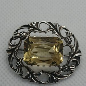 Antique Scottish Silver and Citrine Brooch scottish brooch Antique Jewellery