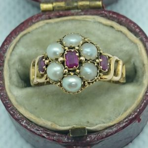 Victorian 15ct Gold Ruby & Pearl Ring Ruby Miscellaneous
