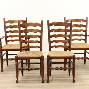 A Set of Four Elm Ladderback Chairs chairs Antique Chairs