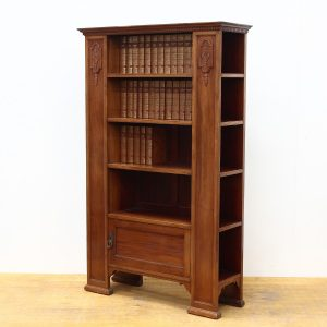 Edwardian Walnut Bookcase with 32 leather bound Charles Dickins Books (21 stories) bookcase Antique Bookcases