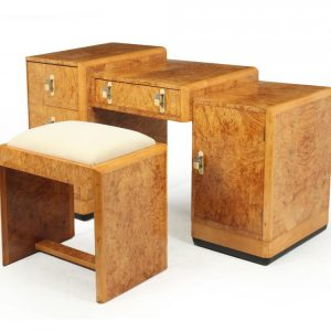Art Deco Dressing Table and stool in Burr Maple art deco Antique Dressing Tables