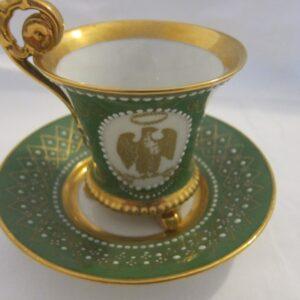 "Antique ""Limoges"" Cup & Saucer Handpainted & Signed by Artist eagle Antique Ceramics"