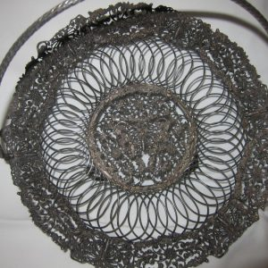 """Antique French Filigree """"Butterfly"""" Cake Basket antique cake basket Antique Silver"""