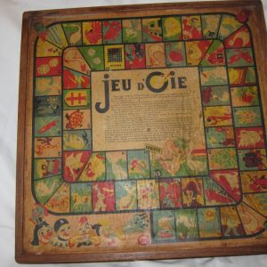 "c.1910 French ""Jeu d'Oie"" Games Box backgammon Antique Toys"