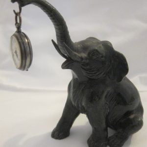 """19th Century French Spelter """"Elephant"""" Pocket Watch Holder Elephants Antique Collectibles"""