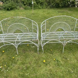 Pair Art Deco Style Peacock Design Garden Curved Benches a pair Vintage