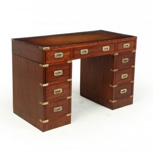 Mahogany Military Campaign Desk with Leather Top Antique Desks