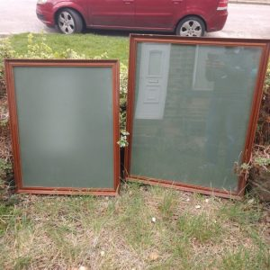 TWO Mid Century Very LARGE Frames Retro for Pop Art or Movie Poster Antique Cabinets