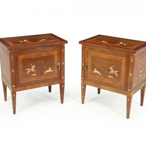 Pair of Italian Neoclassical Inlaid bedside Cabinets Antique Cabinets
