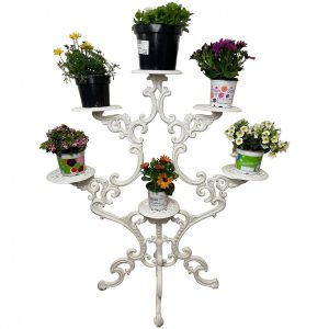 Antique 19th Century Garden Cast Iron Painted White 6 Branch Plant Stand cast iron Architectural Antiques 3