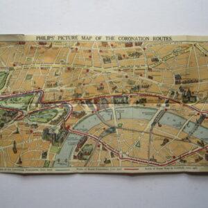 London – Coronation Map – Pictorial – Folding – Curiosity antique map, vintage map, pictorial map, folding map, coronation Antique Maps