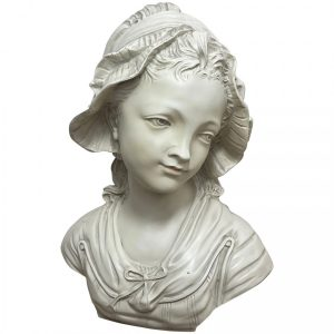 French Classical Young Lady Wearing Bonnet Wall Sculpture classical Vintage