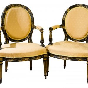 Pair of 19th black lacquered elbow chairs c1865 Antique Chairs
