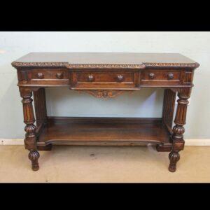 Antique Oak Victorian Shaped Sideboard Server.