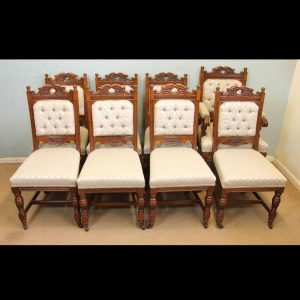Antique Victorian Set Eight Oak Dining Chairs