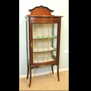Antique Mahogany Inlaid Bow Front Display Cabinet