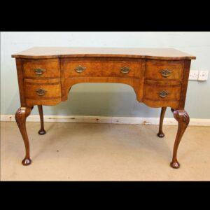 Antique Burr Walnut Writing Desk Side Table / Dressing Table