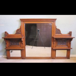 Antique Large Victorian Oak Overmantle Wall Mirror