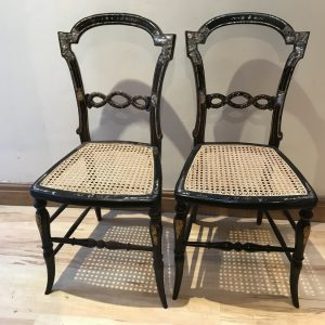 Pair of Lady's bedrooms mother of Pearl Berger seated chairs Antique Chairs
