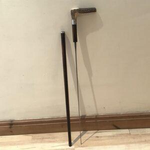 Gentleman's rosewood walking stick sword stick with horn handle Miscellaneous
