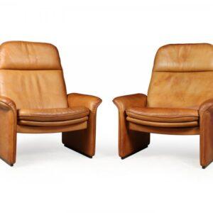 A Pair of De Sede Reclining DS50 in Tan Neck Leather de sede Antique Chairs