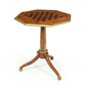 Antique English Walnut, Satinwood and Ebony Chess Table c1880 Antique Furniture