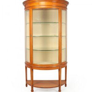 Antique Satinwood Demi Lune Display Cabinet c1900 Antique Cabinets