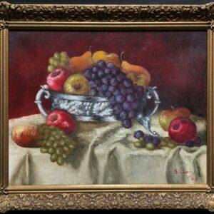Fabulous 1960 Vintage Antique Still Life Of Fruit Study Oil On Canvas Painting Antique Art