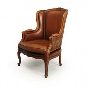 French Leather Bergere Chair Louis XV style Bergere Antique Chairs