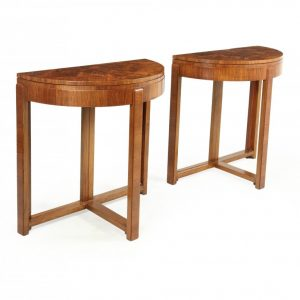 Pair of Art Deco Walnut Card / Console Tables Antique Tables