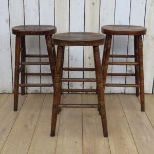 Set Of Three Oak Bar Stools Bar Antique Furniture