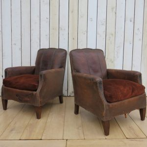 Pair Antique French Leather Club Chairs club chairs Antique Chairs