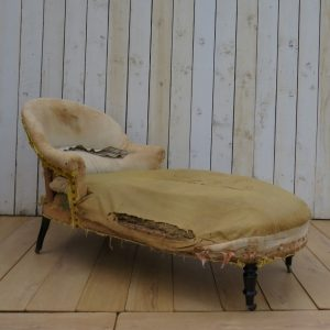 Antique French Chaise Longue For Re-upholstery bed Antique Chairs