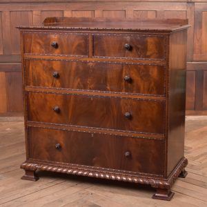 Edwardian Flame Mahogany Edwardian Flame Mahogany Front 2 Over 3 Chest SAI2285 Antique Chest Of Drawers