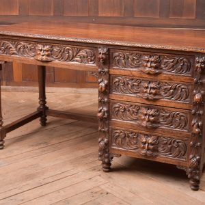 Edwardian Oak Carved Knee Hole Desk SAI2312 Antique Desks