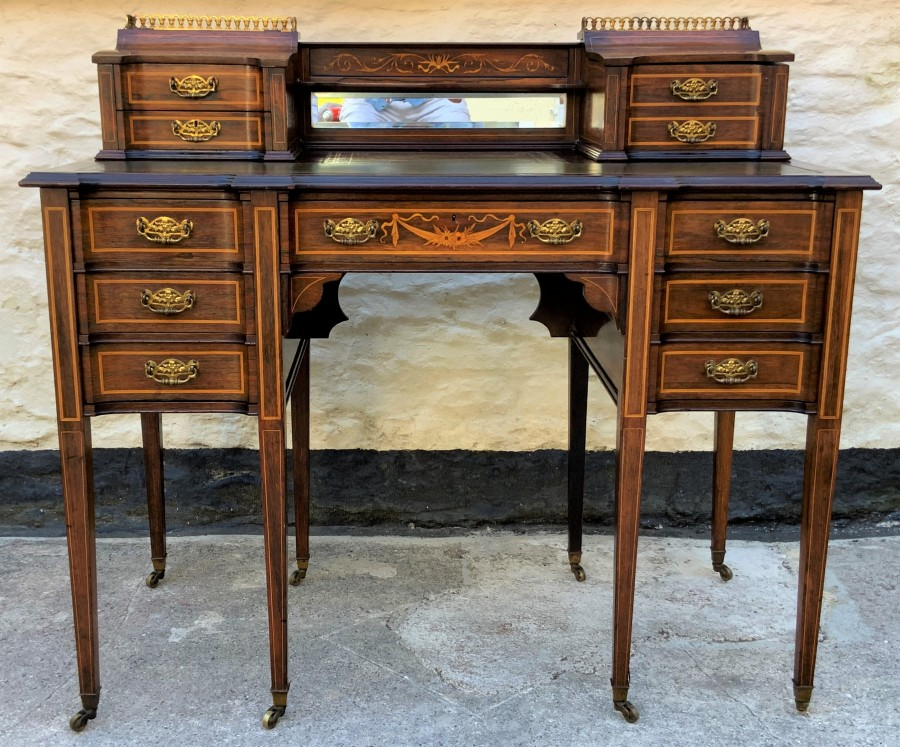 Maple & Co - Stunning Edwardian Marquetry Rosewood Library Writing Table Desk