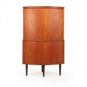 Mid Century Danish Teak Corner Cabinet By S E Peterson Corner Antique Cabinets
