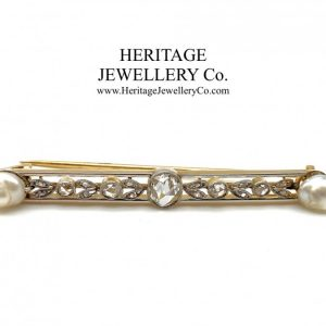 Antique French Gold, Diamond and Pearl Brooch Antique Antique Jewellery