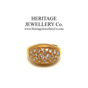 French Pavé Diamond Bombe Ring Diamond Antique Jewellery