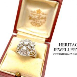 French Platinum & Diamond Retro Ring Diamond Antique Jewellery