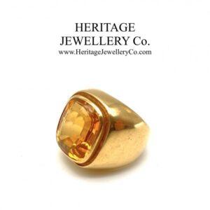 Emerald Cut Citrine Signet Ring Antique Antique Jewellery