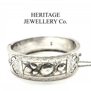 Antique Victorian Embossed Silver Bangle Bracelet (c. 1884) Bangle Antique Jewellery