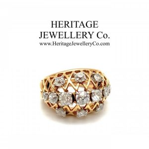 French Diamond Bombe Ring Diamond Antique Jewellery