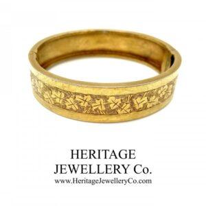 Victorian Gilt Bangle Bracelet with Ivy Leaf Pattern (c. 1880-1890) Bangle Antique Jewellery