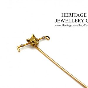 Gold Hunting Pin with Fox and Riding Crop Edwardian Antique Jewellery